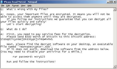 message from WannaCry